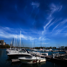 Boata at Marina by Cristobal Garciaferro Rubio - Transportation Boats ( water, illinois, chicago usa, boats, reflections )