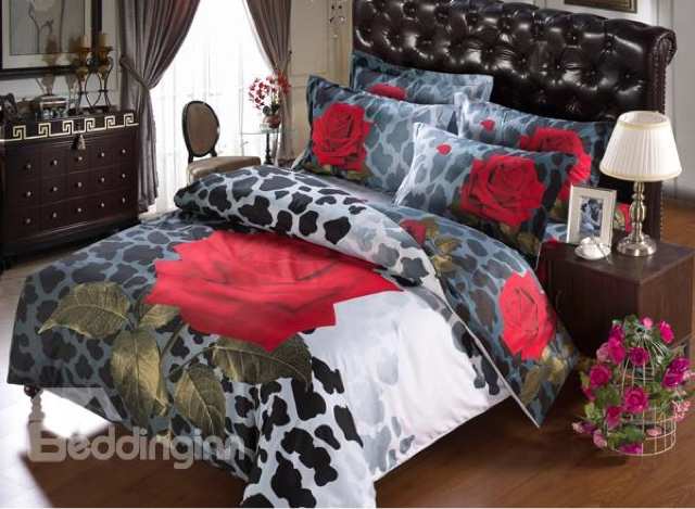 Cool http beddinginn product Red Rose With Black Leopard Print Piece Cotton Duvet Cover Sets html