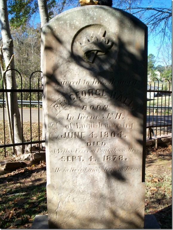 HALL_George Rev_headstone_1878_WintergreenCem_PortGibsonClaiborneMS