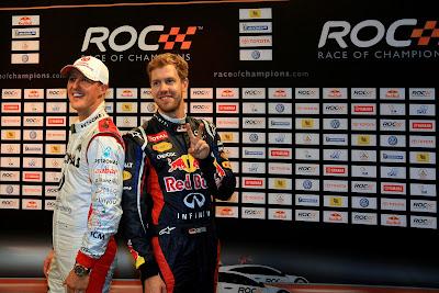 Себастьян Феттель и Михаэль Шумахер на Гонке чемпионов 2012