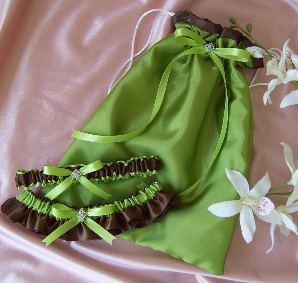 Green and Chocolate Brown Wedding Accessories Bridal Drawstring Bag and
