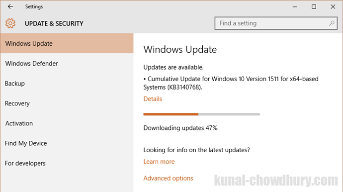 A new cumulative update for #Windows 10 version 1511 is available - 08-March-2016 (www.kunal-chowdhury.com)