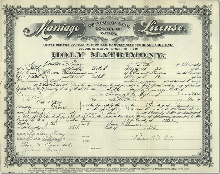 A Weber County, Utah marriage license that was digitized in color