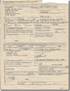 Discharge papers of Howard Franklin Allor
