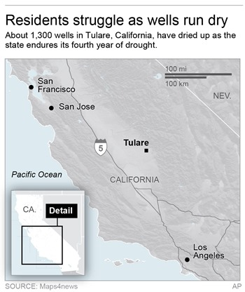 Residents of Tulare County County, California, struggle as wells run dry. About 1,300 wells have dried up as the state endures its fourth year of drought. Graphic: Maps4news / AP