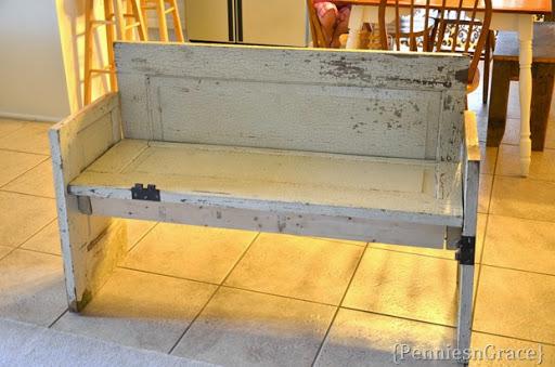 Old door bench & pennies n grace: Open the door to a new bench