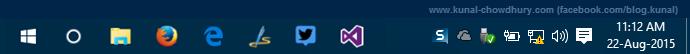 Windows 10 SysTray with clock (www.kunal-chowdhury.com)