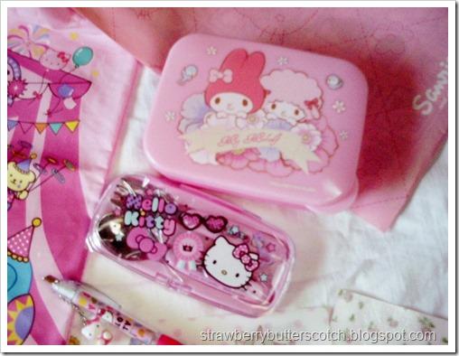 My Melody Bento Box and Hello Kitty Utensil Set