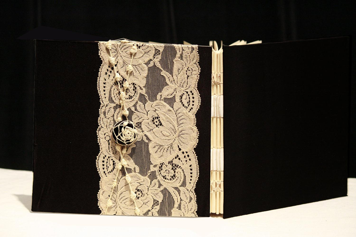 Black Wedding Guest Book, Lace, Custom Made, Personalized,