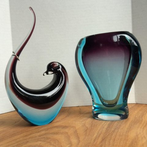 blown glass bird and vase