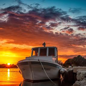 Boat Sunset by Branko Meic-Sidic - Transportation Boats ( croatia, beautiful, nirvana, pirovac, waterscape, sunset, dramatic, prosika, boat, euphoria )