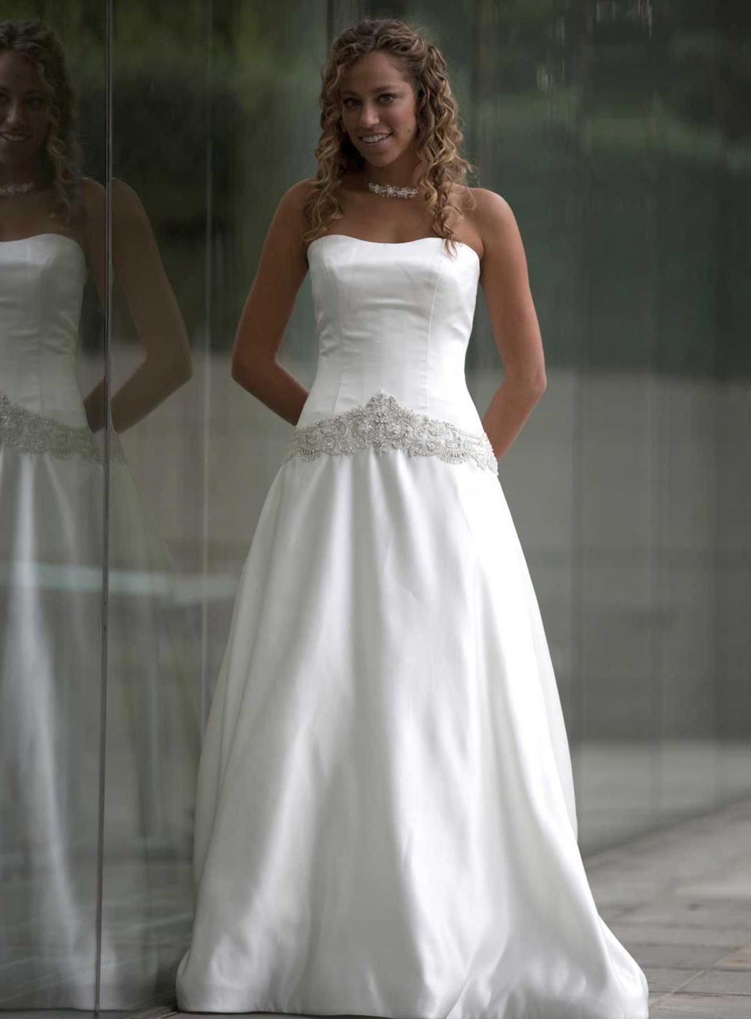 Satin strapless wedding gowns