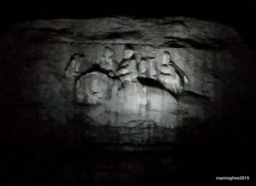 Close-up of the carving after dark