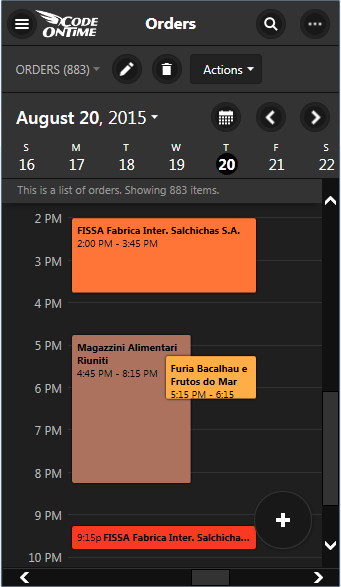 'Day' view in Calendar view style of an app created with Code On Time displayed on a screen with small form factor.