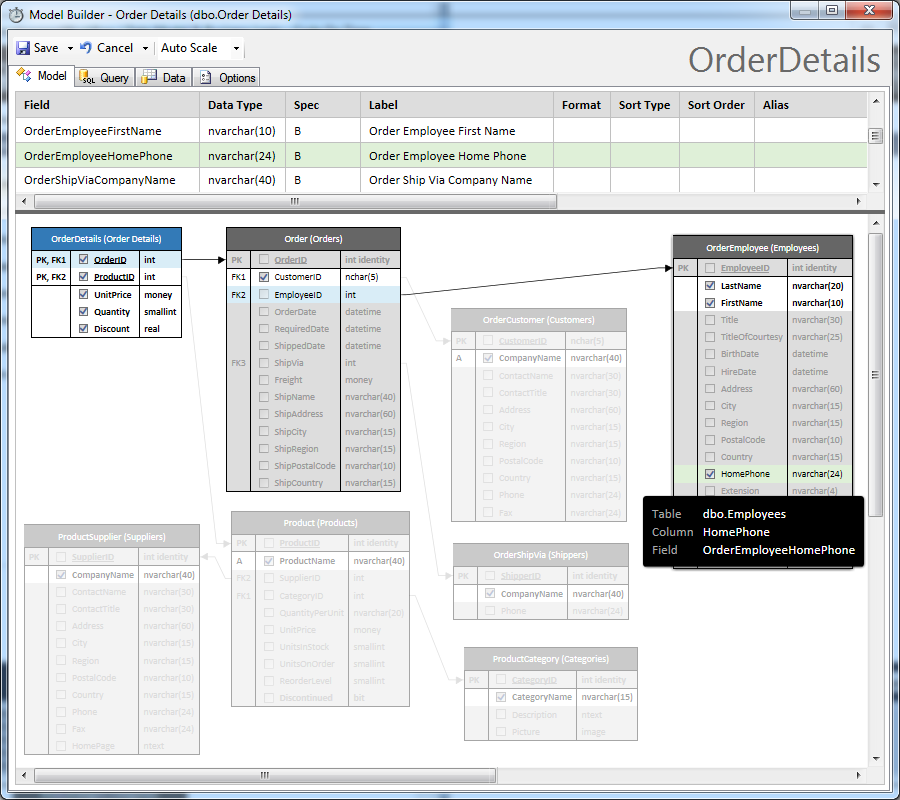 Visual relationship tracking in the model of OrderDetails entity in the Northwind sample created with Code On Time application generator.