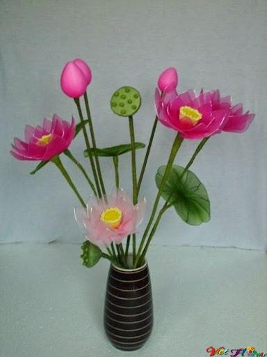 mẫu hoa sen bằng vải voan 8