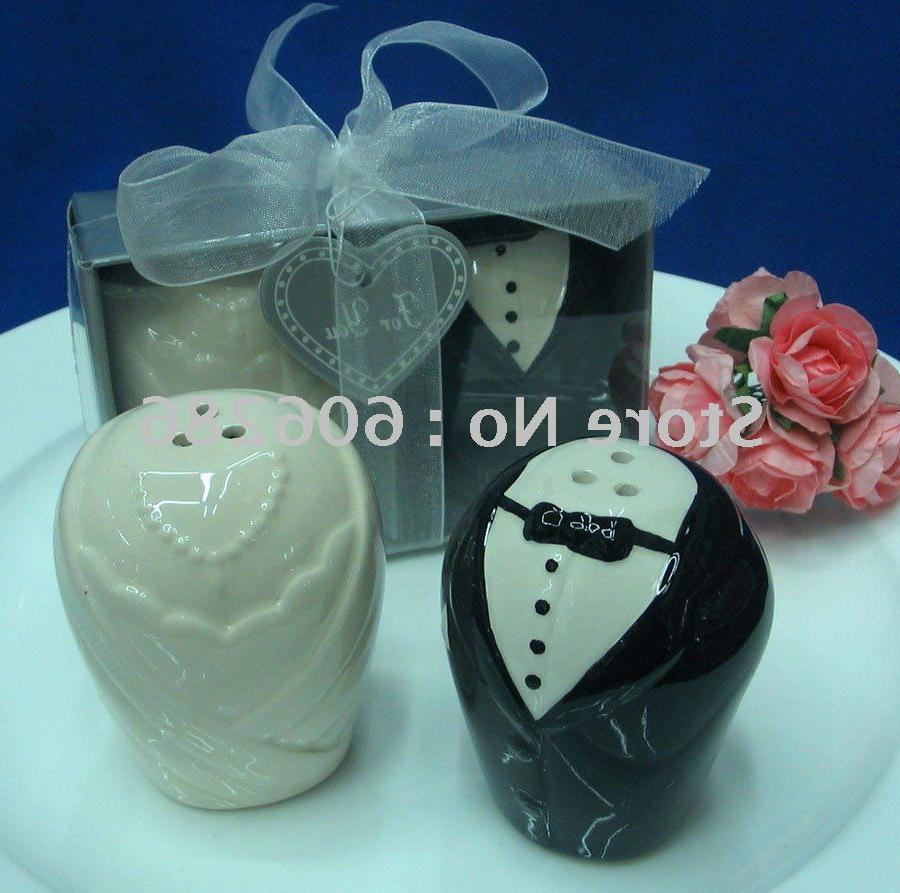 2011 popular wedding gifts for guest bride and groom ceramic salt and pepper