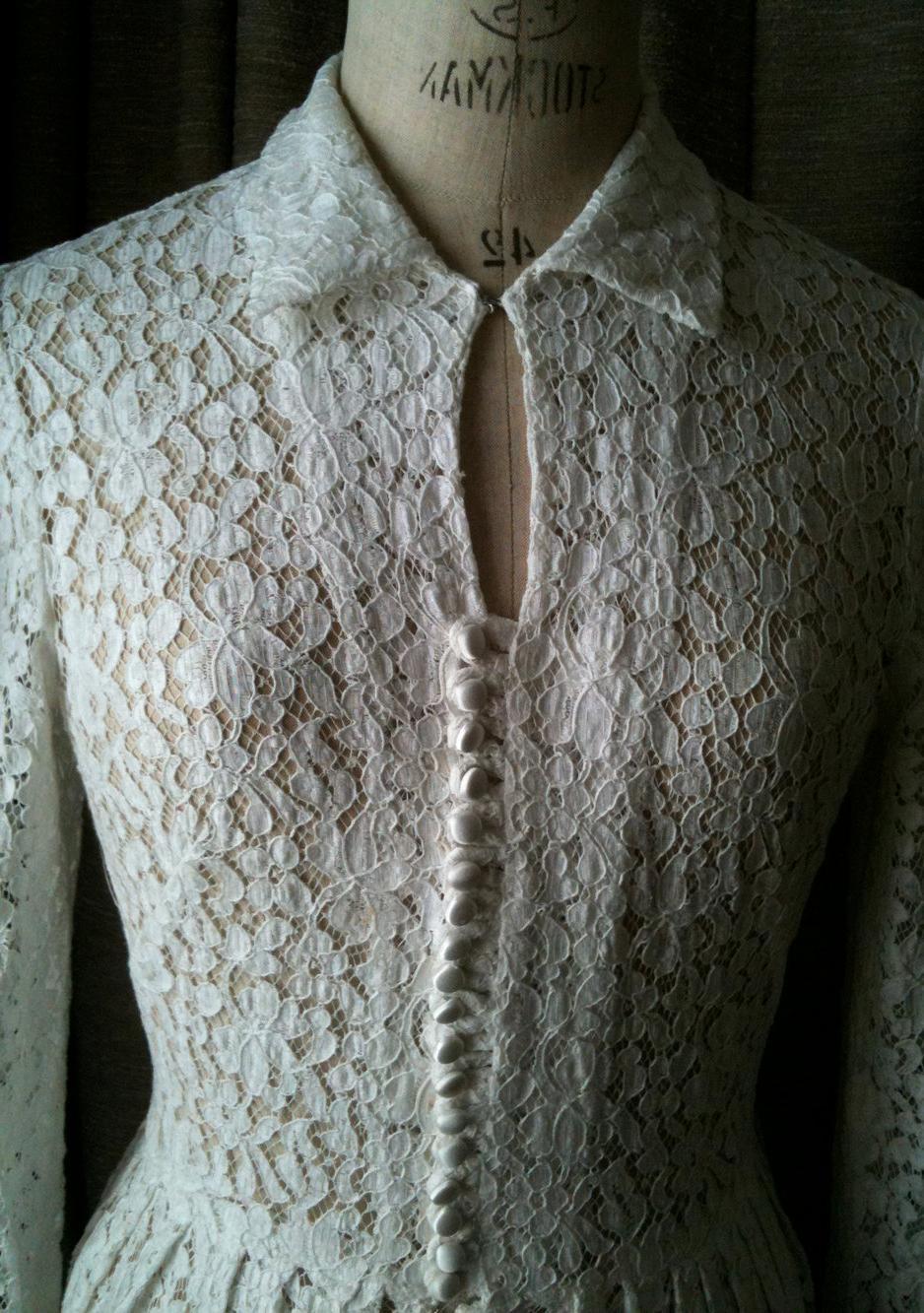 Demure Vintage White Lace