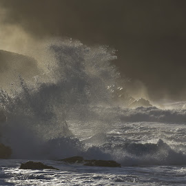 Power by Barbara Walsh - Landscapes Waterscapes ( wild, ireland, wave, weather, sea, rock, beach, atlantic )