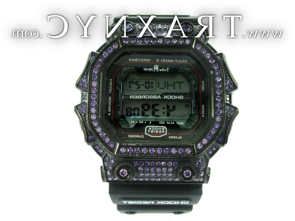 Purple Color CZ Mens Watch