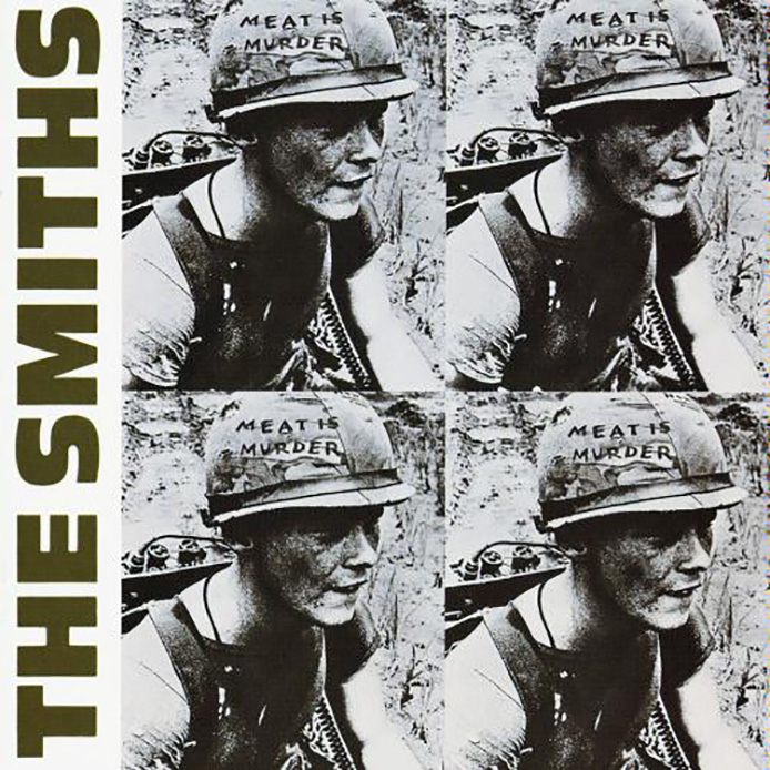 Front cover design for Meat is Murder. Conceptually this record sleeve design is considered one of the finest of the 1980s after Morrissey's appropriation of a still from Emile de Antonio's 1968 documentary In the Year of the Pig. The photograph selected was taken in 1967 and shows Marine Cpl. Michael Wynn whose helmet inscription has been altered from Make War Not Love to Meat is Murder