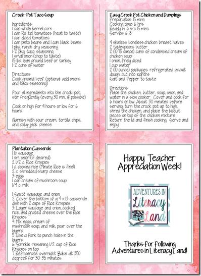 easy teacher recipes