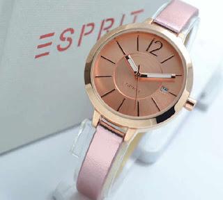 jam tangan Esprit date full Rosegold leather