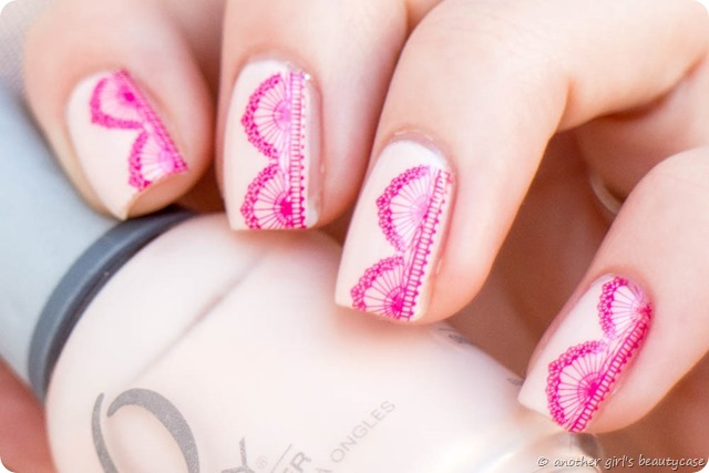 Ready Set Pooolish Lace Spitze Water Decals Orly Pink Kiss the bride nailart design nail art