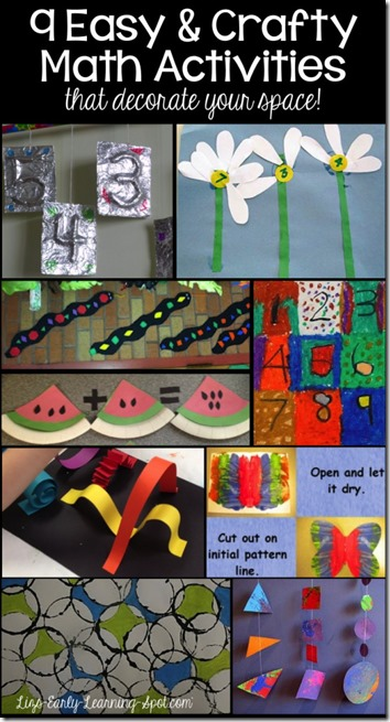 9 Math Crafts for kids! Kids are going to love reinforcing math concepts like numbers, counting, and shapes with these toddler, preschool and kindergarten crafts for kids.