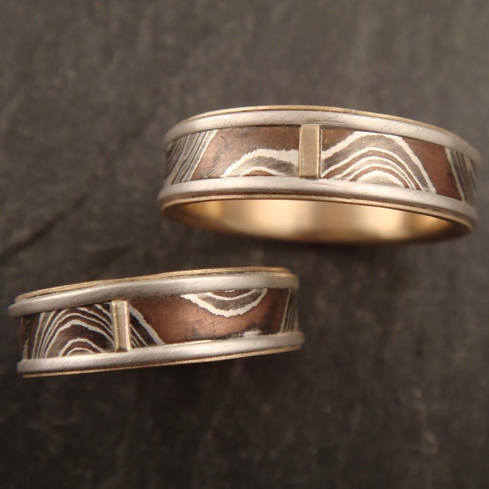 14k Gold Lined Wedding Set with Wave Patterned Mokume