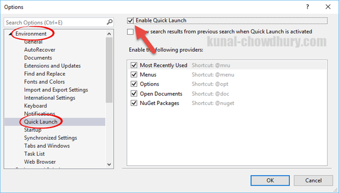 Visual Studio 2015 -> Tools -> Options -> to enable/disable the Quick Launch settings (www.kunal-chowdhury.com)