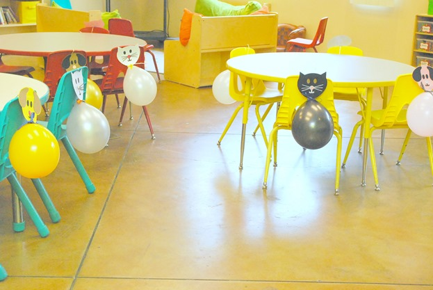 Cat and Dog Birthday Party - Balloons on Chairs