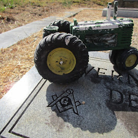 Tractor on childs grave by David Jarrard - Artistic Objects Toys ( graves, john deere, cemetary, tractor )