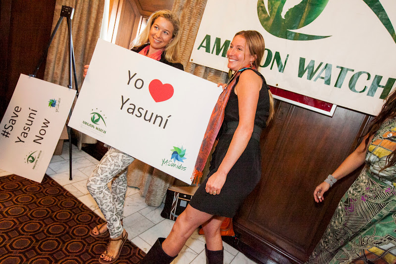 We love Yasuní! Natalie van Zelm and Amazon Watch Communications Director, Caroline Bennett. September 25, 2013; San Francisco, CA, USA; Photo by Eric Slomanson / slomophotos.com