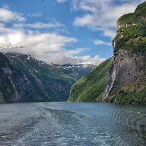 Through the fjord by Cathleen Steele - Uncategorized All Uncategorized ( sky, calm, canyon, blue, nature, clouds, water, serene, fjjord,  )