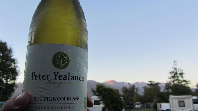 A local Sauvignon Blanc overlooking the mountains surrounding Kaikoura.