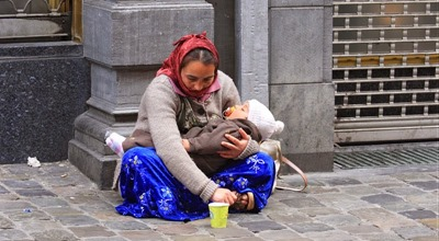 another beggar with child