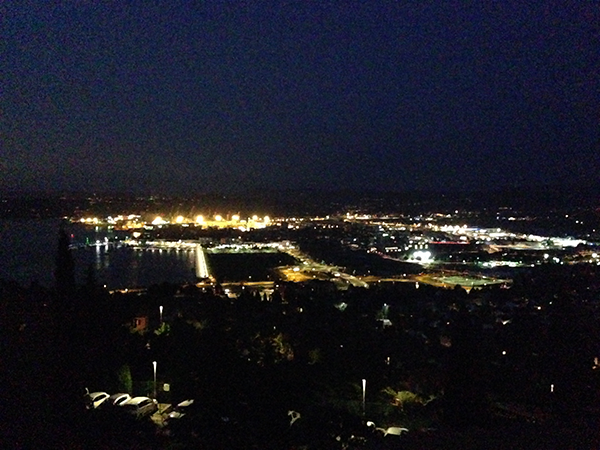 night view sea luka koper
