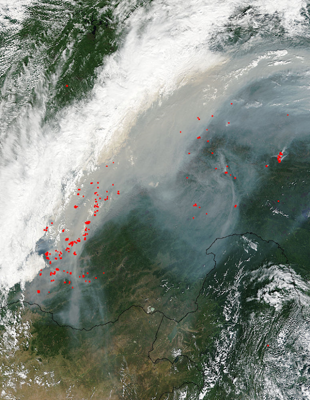 Satellite view of smoke and fires in eastern Russia, 10 August 2015. Photo: NASA Terra/MODIS