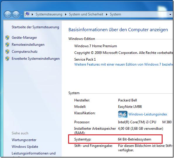 Windows 7 Architektur vor dem Upgrade auf Windows 10 prüfen