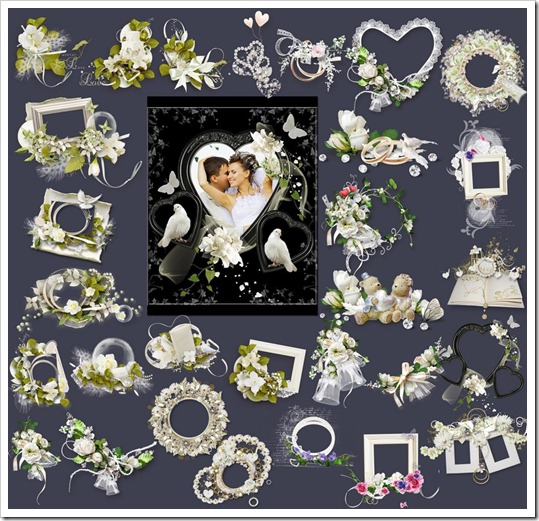 frames and flower clusters PNG