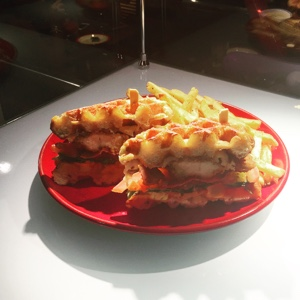 TGI Fridays chicken waffle burger