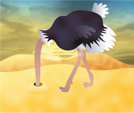 Cartoon-Ostrich-With-Head-In-Sand