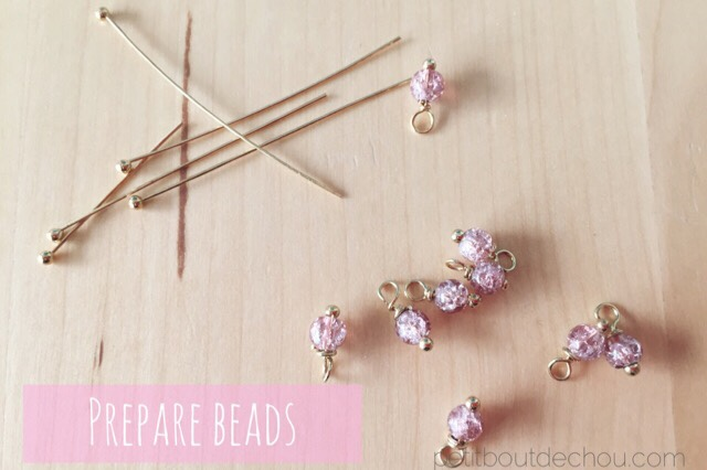 Gold plated head pins pink crackle beads hook making