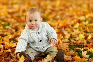 Baby in Leaves