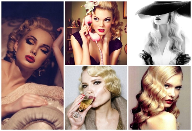 Vintage retro hair styles make up
