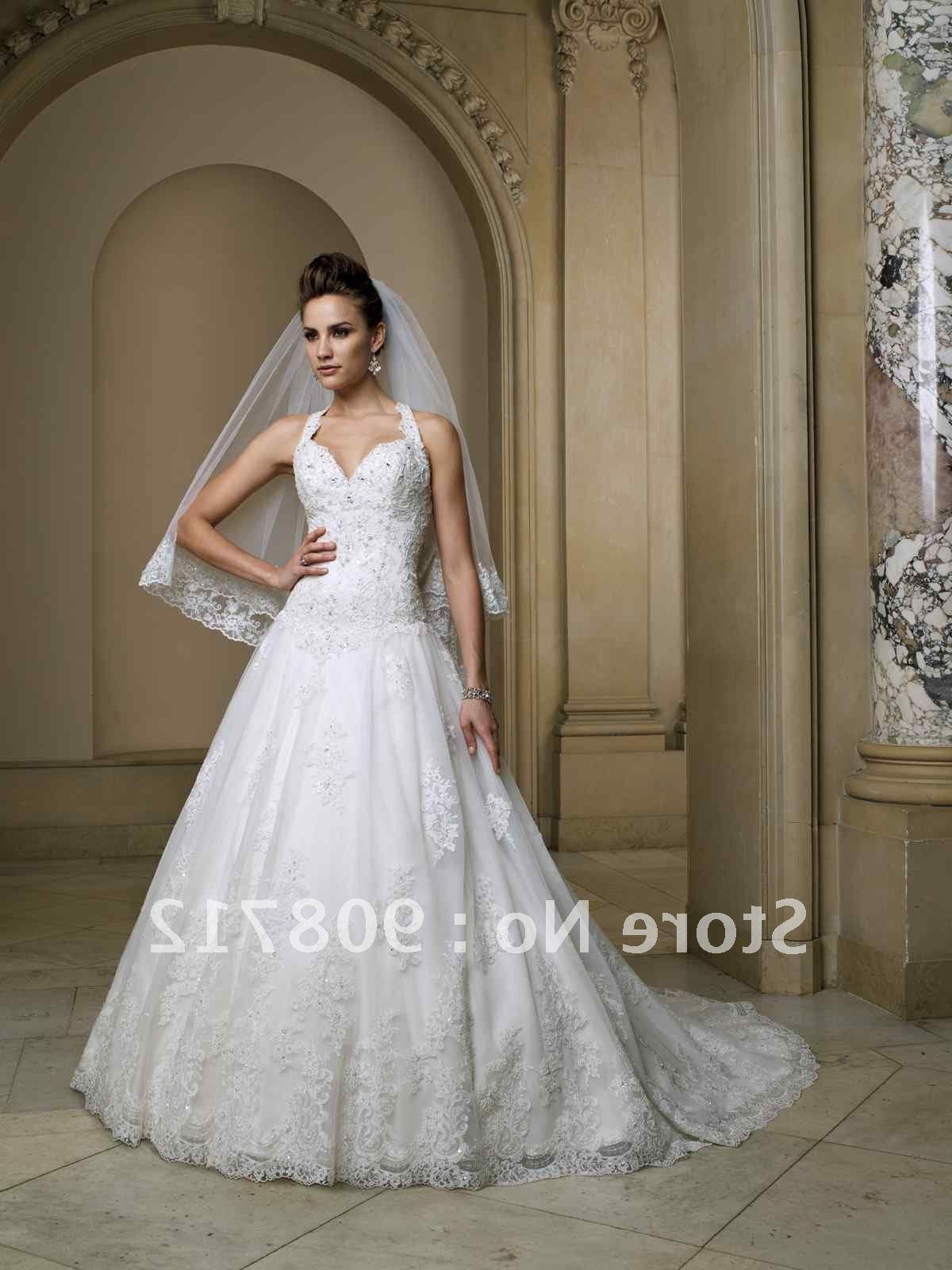halter ball gown designer wedding gown 2012 with Swarovski crystals