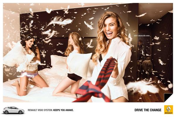 Renault Visio Print Ads — Catwalk, Concert, Pillow Fight