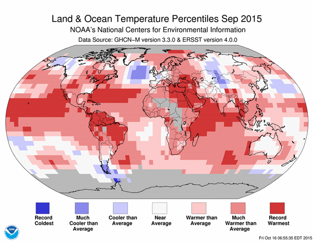September 2015 blended land and sea surface temperature percentiles. Graphic:  NOAA / NCDC