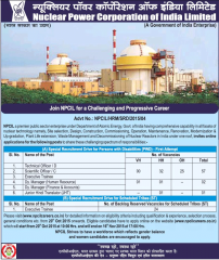 NPCIL Advertisement 2015-16 indgovtjobs
